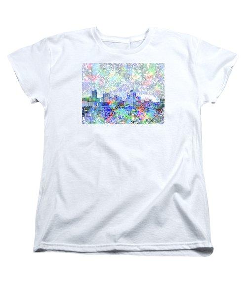 Women's T-Shirt (Standard Cut) featuring the painting Baltimore Skyline Watercolor 10 by Bekim Art