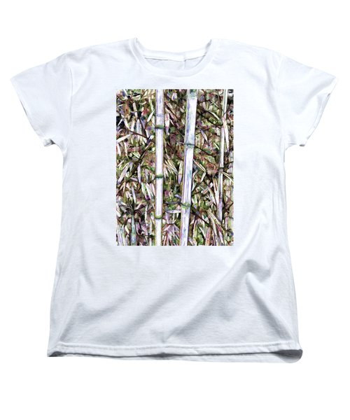 Women's T-Shirt (Standard Cut) featuring the painting Bamboo Stalks by Lanjee Chee