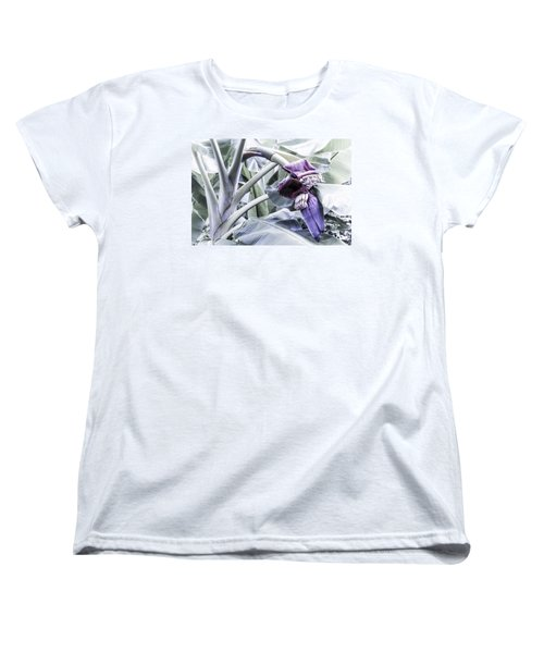 Women's T-Shirt (Standard Cut) featuring the photograph Banana Beginnings In Cool Shades by Kerri Ligatich