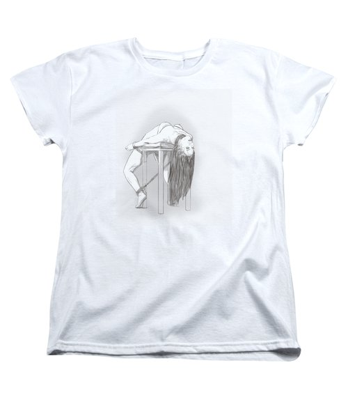 Women's T-Shirt (Standard Cut) featuring the mixed media Bar Chair Bw by TortureLord Art