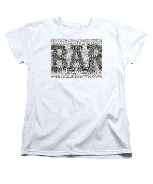 Women's T-Shirt (Standard Cut) featuring the mixed media Bar Sign Beer Label Mosaic by Paul Van Scott