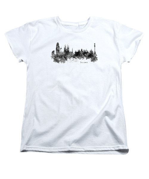 Barcelona Black And White Watercolor Skyline Women's T-Shirt (Standard Cut) by Marian Voicu