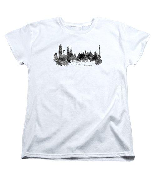 Barcelona Black And White Watercolor Skyline Women's T-Shirt (Standard Cut)
