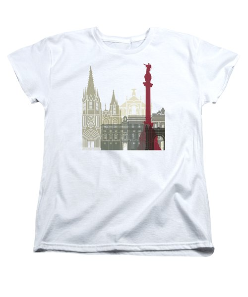 Barcelona Skyline Poster Women's T-Shirt (Standard Cut) by Pablo Romero