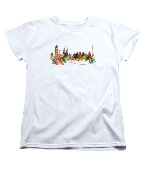 Barcelona Watercolor Skyline Women's T-Shirt (Standard Fit)