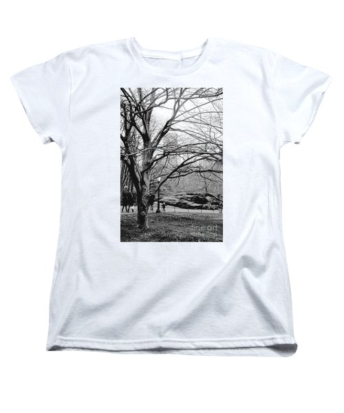 Women's T-Shirt (Standard Cut) featuring the photograph Bare Tree On Walking Path Bw by Sandy Moulder