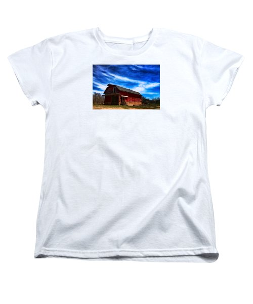 Barn Under Blue Sky Women's T-Shirt (Standard Cut) by Toni Hopper