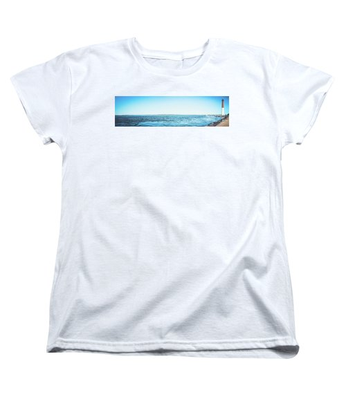 Women's T-Shirt (Standard Cut) featuring the photograph Barnegat Light Panorama by Colleen Kammerer