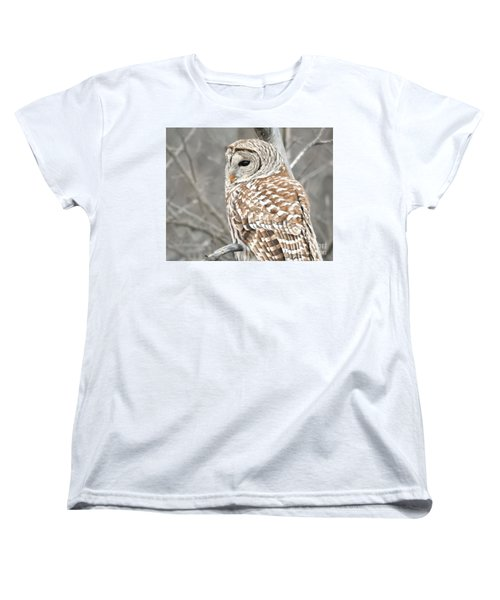 Barred Owl Close-up Women's T-Shirt (Standard Cut) by Kathy M Krause