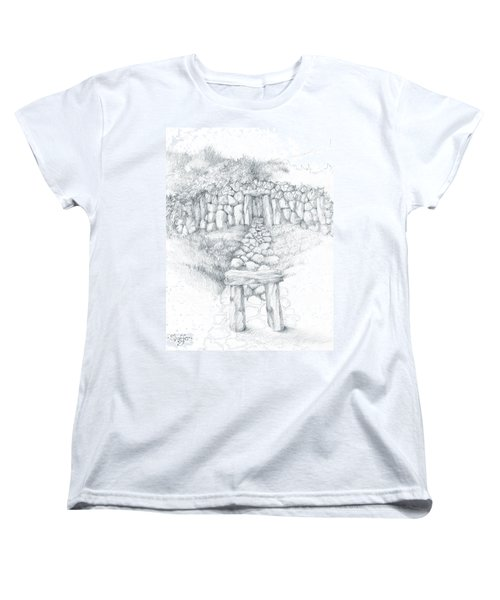 Women's T-Shirt (Standard Cut) featuring the drawing Barrow Tomb by Curtiss Shaffer