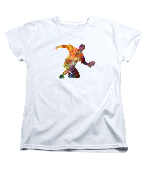 Baseball Player Catching A Ball Women's T-Shirt (Standard Cut) by Pablo Romero