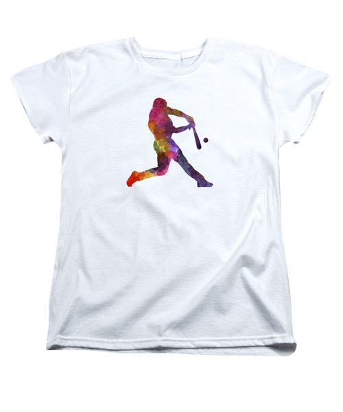 Baseball Player Hitting A Ball Women's T-Shirt (Standard Cut) by Pablo Romero