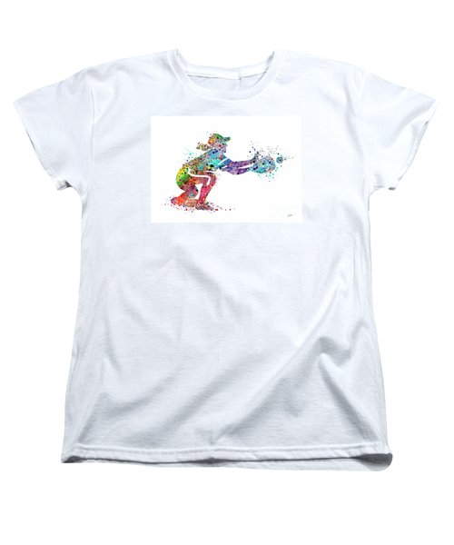 Baseball Softball Catcher 2 Sports Art Print Women's T-Shirt (Standard Cut) by Svetla Tancheva