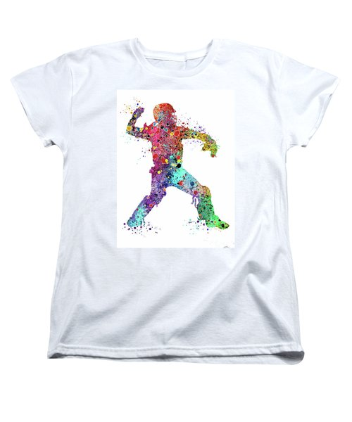Baseball Softball Catcher 3 Watercolor Print Women's T-Shirt (Standard Cut)