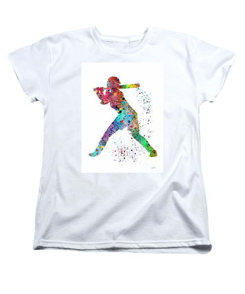 Baseball Softball Player Women's T-Shirt (Standard Cut) by Svetla Tancheva