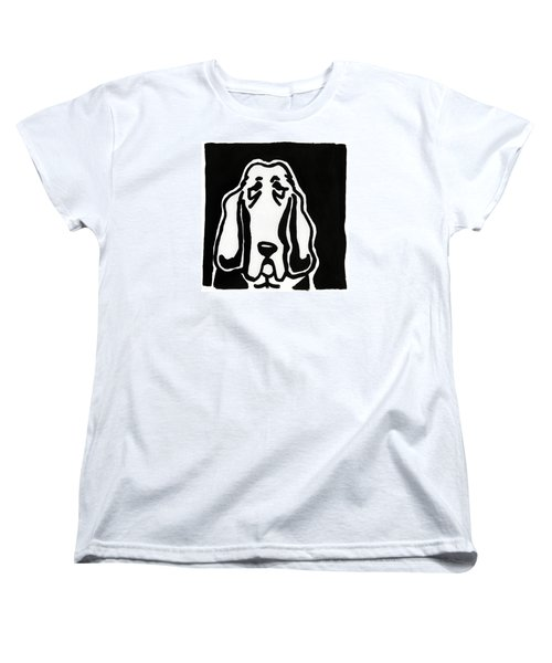 Women's T-Shirt (Standard Cut) featuring the drawing Basset Hound Ink Sketch by Leanne WILKES