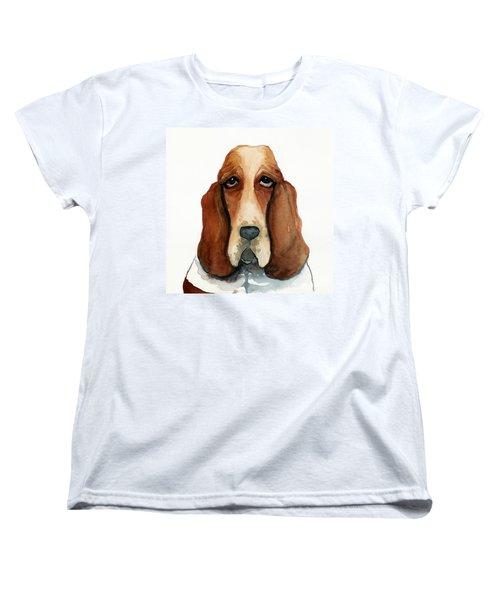 Basset Hound Women's T-Shirt (Standard Cut) by Leanne Wilkes