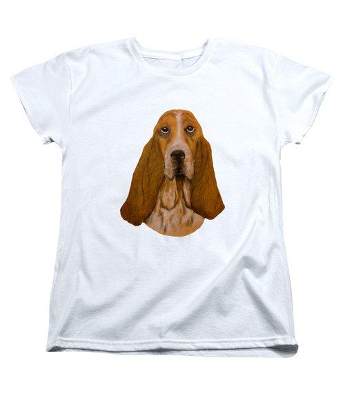 Basset Hound Portrait Women's T-Shirt (Standard Cut) by John Stuart Webbstock