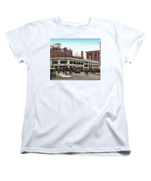 Women's T-Shirt (Standard Cut) featuring the painting Bay And Queen Streets C1940 by Kenneth M Kirsch