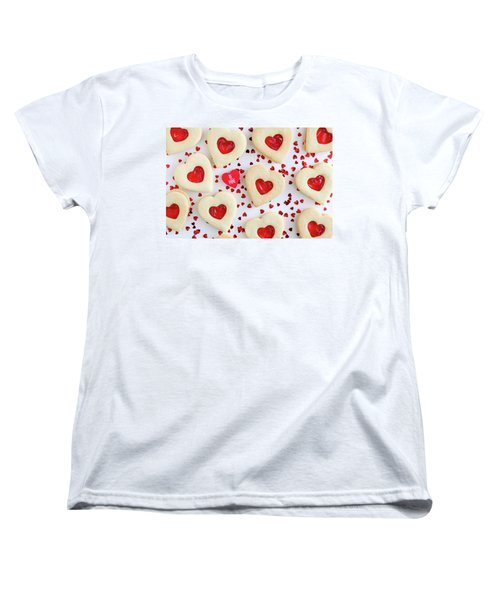 Women's T-Shirt (Standard Cut) featuring the photograph Be Mine Heart Cookies by Teri Virbickis