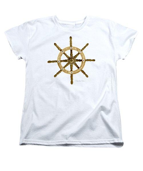 Beach House Nautical Boat Ship Anchor Vintage Women's T-Shirt (Standard Cut) by Audrey Jeanne Roberts