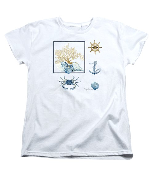 Beach House Nautical Seashells Ships Wheel Anchor N Crab Women's T-Shirt (Standard Cut) by Audrey Jeanne Roberts