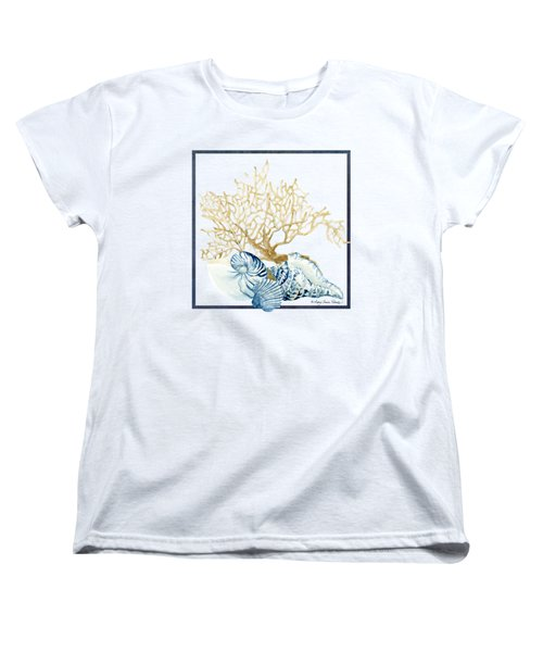 Beach House Nautilus Scallop N Conch With Tan Fan Coral Women's T-Shirt (Standard Cut) by Audrey Jeanne Roberts