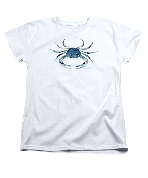 Beach House Sea Life Blue Crab Women's T-Shirt (Standard Cut) by Audrey Jeanne Roberts