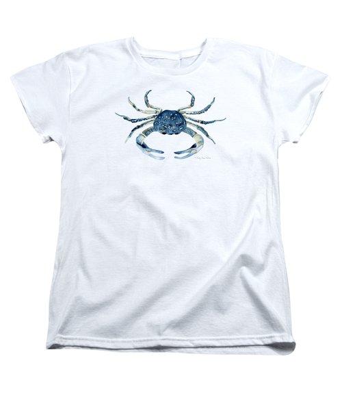 Beach House Sea Life Blue Crab Women's T-Shirt (Standard Cut) by Audrey Jeanne Roberts