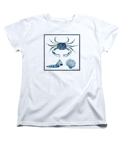 Beach House Sea Life Crab Turban Shell N Scallop Women's T-Shirt (Standard Cut) by Audrey Jeanne Roberts