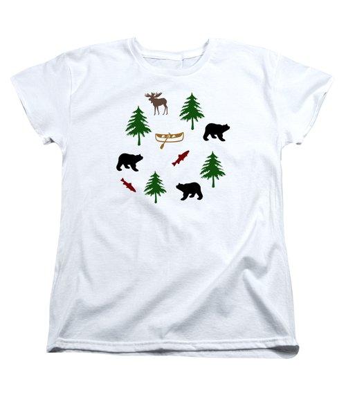 Bear Moose Pattern Women's T-Shirt (Standard Fit)