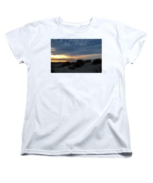Beautiful Beach San Dunes Sunset And Clouds Women's T-Shirt (Standard Cut) by Matt Harang