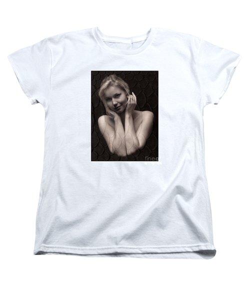 Beautiful Blonde Posing Women's T-Shirt (Standard Cut) by Michael Edwards