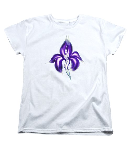 Beautiful Dancing Lady Flower Artistic Illustration Art Photo Print Women's T-Shirt (Standard Cut) by Awen Fine Art Prints