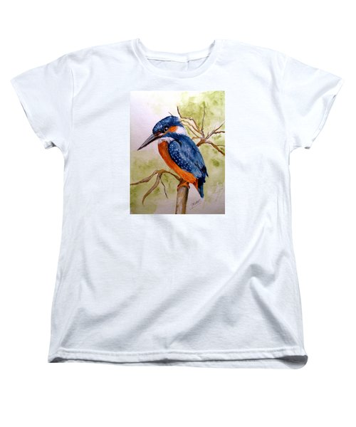 Women's T-Shirt (Standard Cut) featuring the painting Beautiful Kingfisher by Carol Grimes