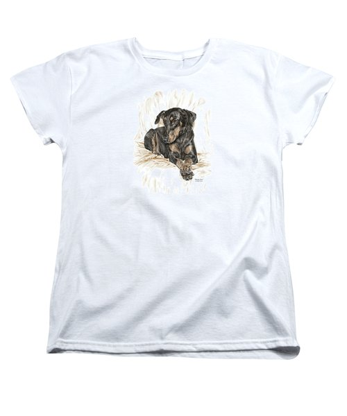 Women's T-Shirt (Standard Cut) featuring the drawing Beauty Pose - Doberman Pinscher Dog With Natural Ears by Kelli Swan
