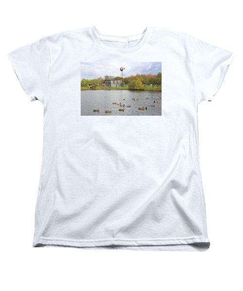 Women's T-Shirt (Standard Cut) featuring the digital art Bedford Village by Sharon Batdorf