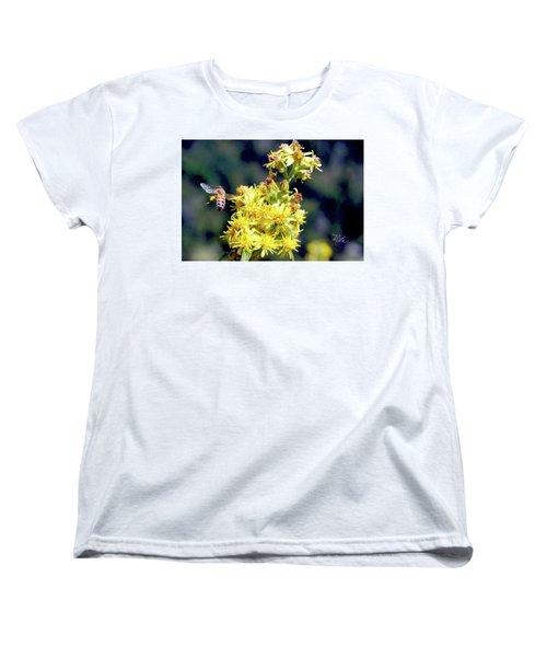 Women's T-Shirt (Standard Cut) featuring the photograph Bee On Goldenrod by Meta Gatschenberger