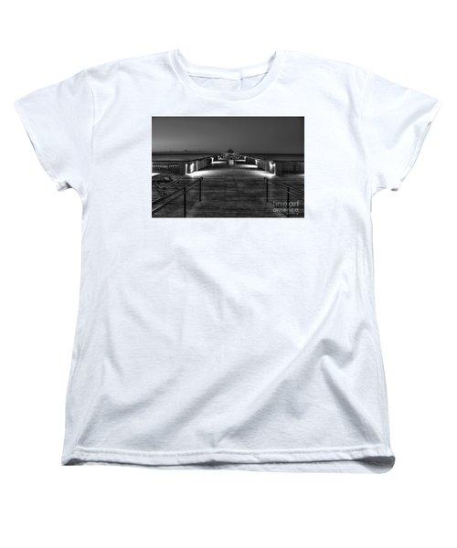 Women's T-Shirt (Standard Cut) featuring the photograph Before Dawn Folly Beach Pier Charleston Sc Art by Reid Callaway