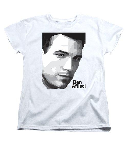 Ben Affleck Portrait Art Women's T-Shirt (Standard Cut) by Madiaz Roby