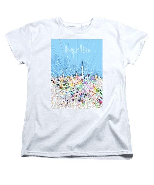Berlin City Skyline Map Women's T-Shirt (Standard Cut) by Bekim Art