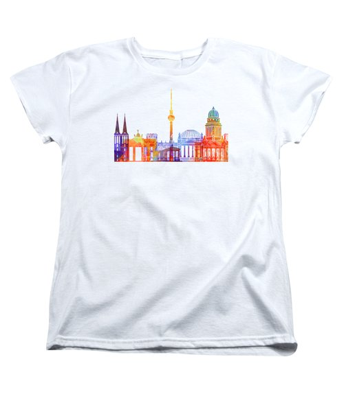 Berlin Landmarks Watercolor Poster Women's T-Shirt (Standard Cut) by Pablo Romero