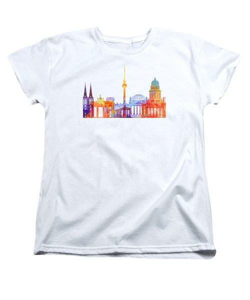 Berlin Landmarks Watercolor Poster Women's T-Shirt (Standard Cut)