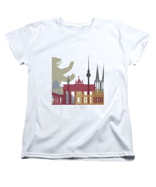 Berlin Skyline Poster Women's T-Shirt (Standard Cut) by Pablo Romero