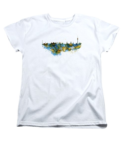 Berlin Watercolor Skyline Women's T-Shirt (Standard Cut) by Marian Voicu