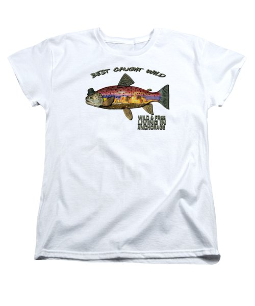 Women's T-Shirt (Standard Cut) featuring the digital art Fishing - Best Caught Wild On Light by Elaine Ossipov