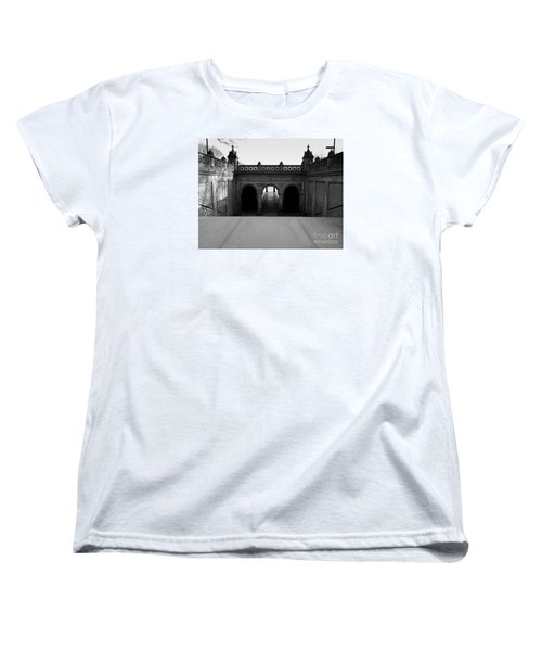 Bethesda Terrace In Central Park - Bw Women's T-Shirt (Standard Cut) by James Aiken