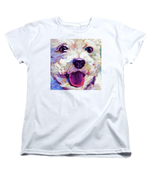 Women's T-Shirt (Standard Cut) featuring the painting Bichon Frise Face by Robert Phelps