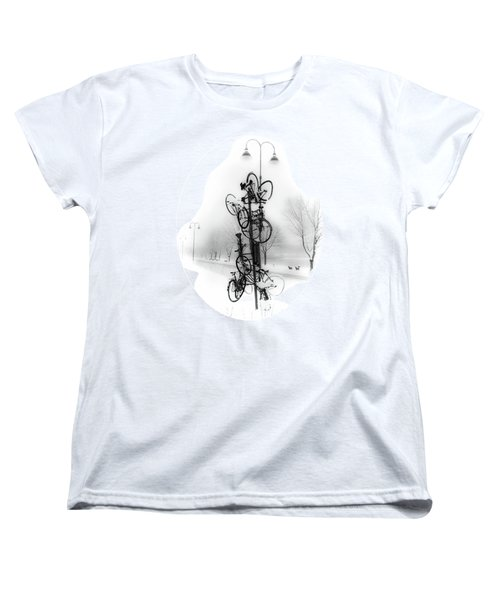 Bicycle Lamppost In Winter Women's T-Shirt (Standard Cut) by Menega Sabidussi