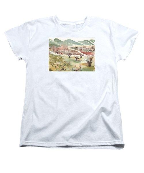 Bicycling Through Vineyards Women's T-Shirt (Standard Cut)